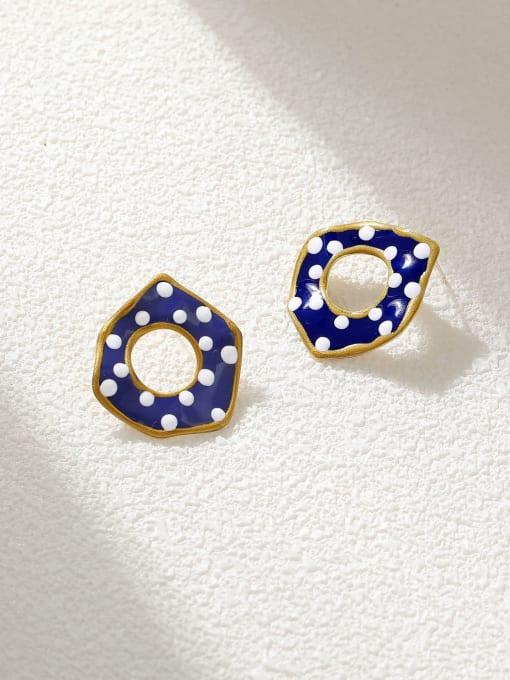 14k Gold Brass Enamel Geometric Minimalist Stud Earring