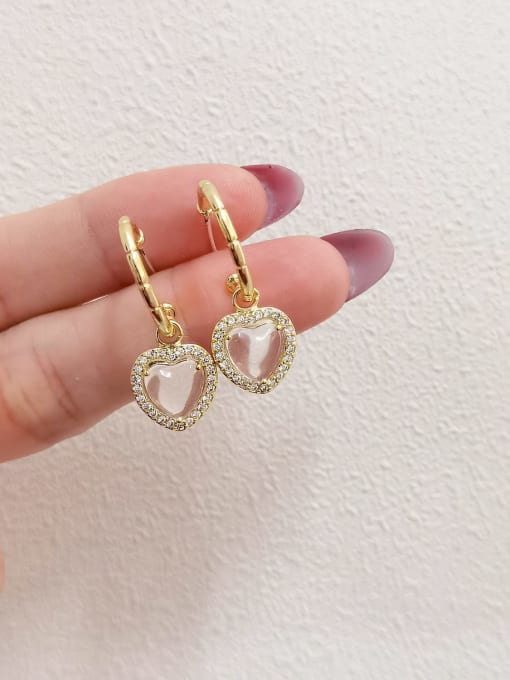 HYACINTH Brass Glass Stone Heart Minimalist Huggie Earring 0