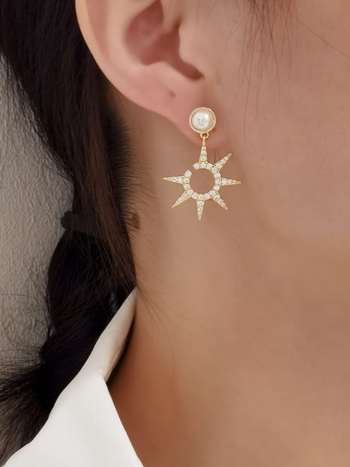HYACINTH Brass Cubic Zirconia Star Minimalist Drop Earring 1