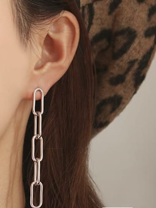 ACCA Brass Hollow Geometric Chain Vintage Drop Earring 2