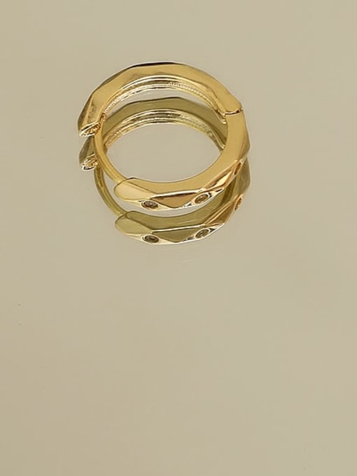 14K gold Copper Rhinestone Geometric Minimalist Huggie Earring