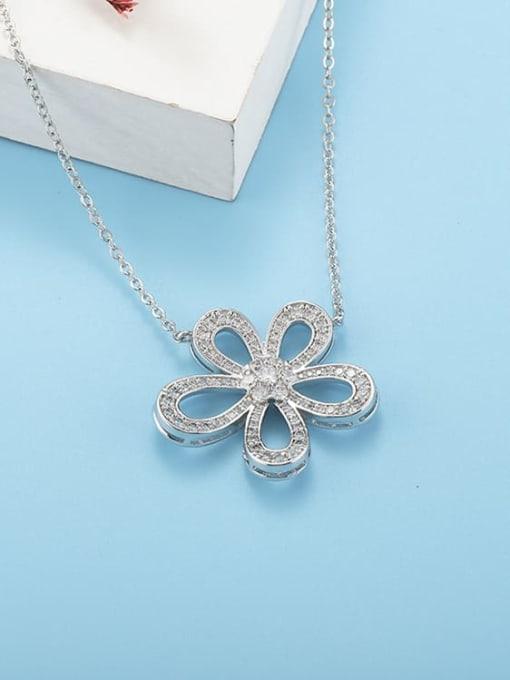 YILLIN Brass Cubic Zirconia Flower Minimalist Necklace 2