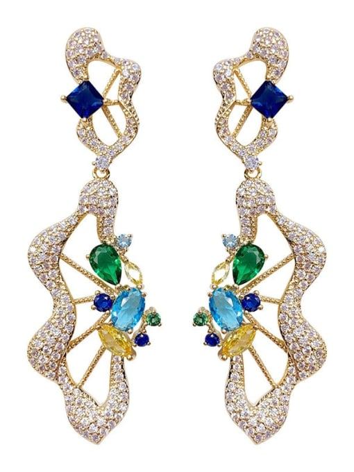 golden Brass Cubic Zirconia Irregular Luxury Drop Earring
