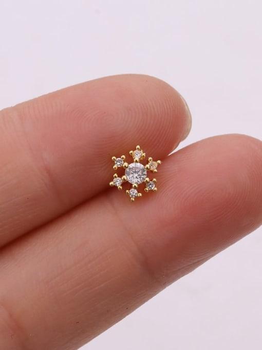 Gold 4#(single) Brass Cubic Zirconia Flower Cute Stud Earring (single)