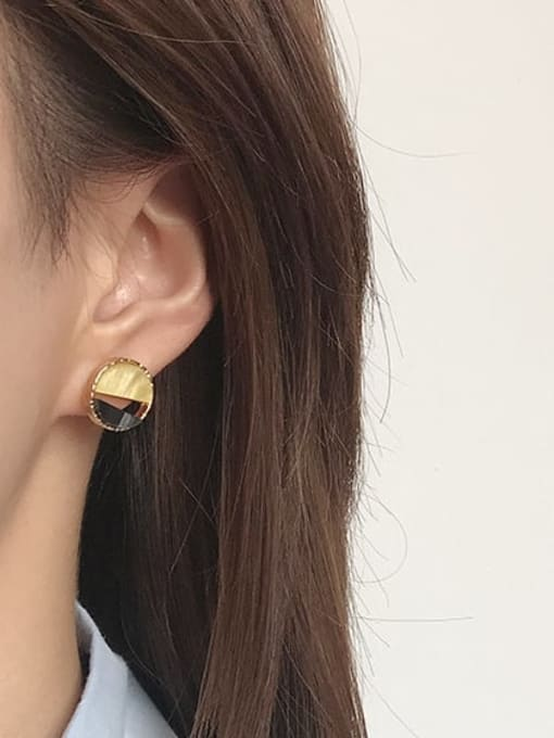 Five Color Alloy Enamel  Cute Round Contrasting Color  Stud Earring 2