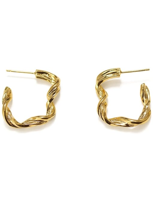 Twisted square (vacuum plating) Brass Smooth Geometric Vintage Hoop Earring