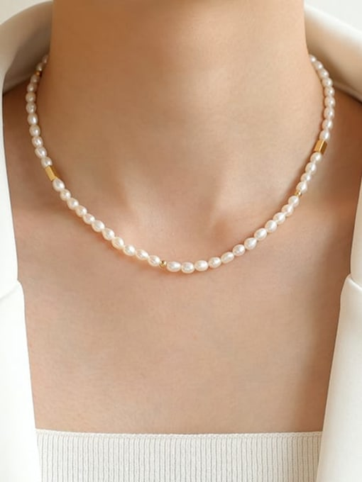 Five Color Brass Freshwater Pearl Geometric Hip Hop Necklace 1