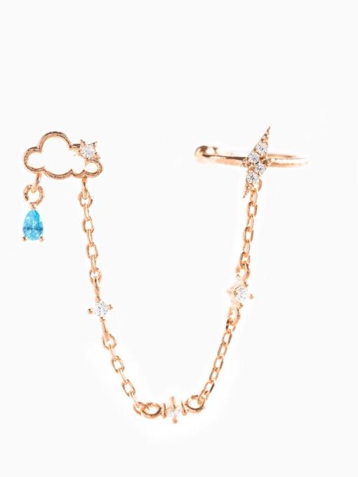 rose gold Brass Cubic Zirconia Irregular Minimalist Single Earring