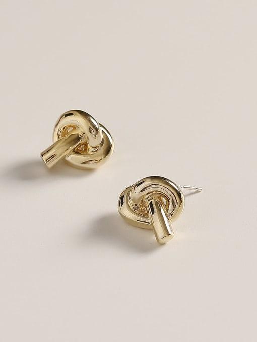 14k Gold Brass Knot Minimalist Stud Earring