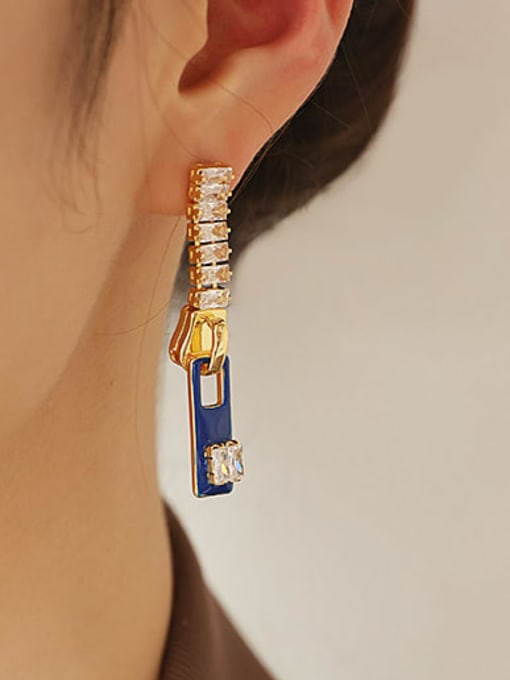 Sapphire blue Zinc Alloy Enamel Geometric Minimalist Drop Earring