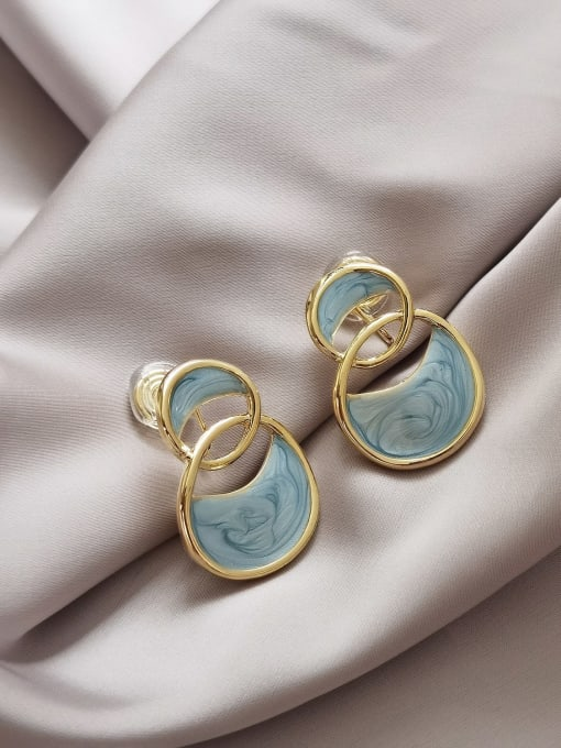 HYACINTH Brass Enamel Geometric Vintage Stud Earring 2