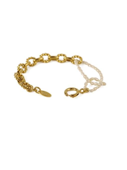 ACCA Brass Imitation Pearl Geometric Vintage Beaded Bracelet 0