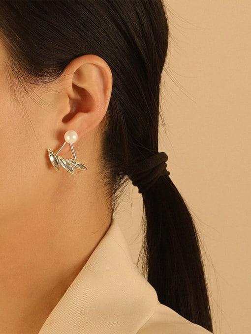 HYACINTH Brass Imitation Pearl Irregular Ethnic Stud Earring 2