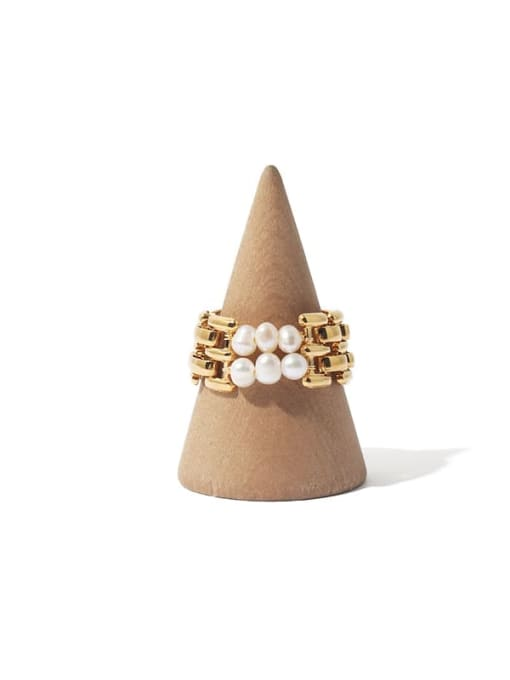 TINGS Brass Freshwater Pearl Geometric Hip Hop Stackable Ring 3