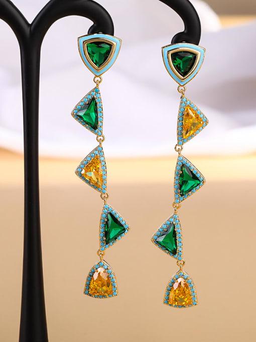 Turquoise Brass Cubic Zirconia Triangle Luxury Drop Earring