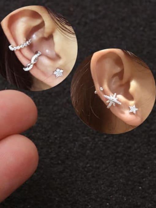 HISON Brass Cubic Zirconia Horse Cute Stud Earring 1