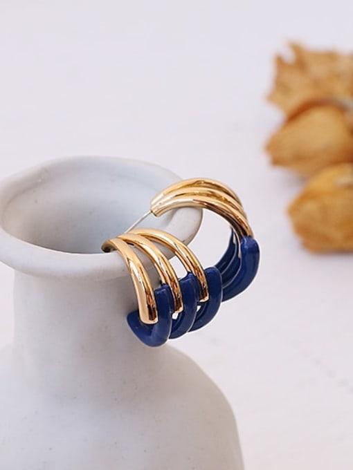 ACCA Brass Enamel Geometric Minimalist Stud Earring 2