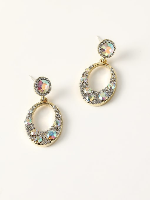 14k Gold Brass Rhinestone Geometric Vintage Drop Earring