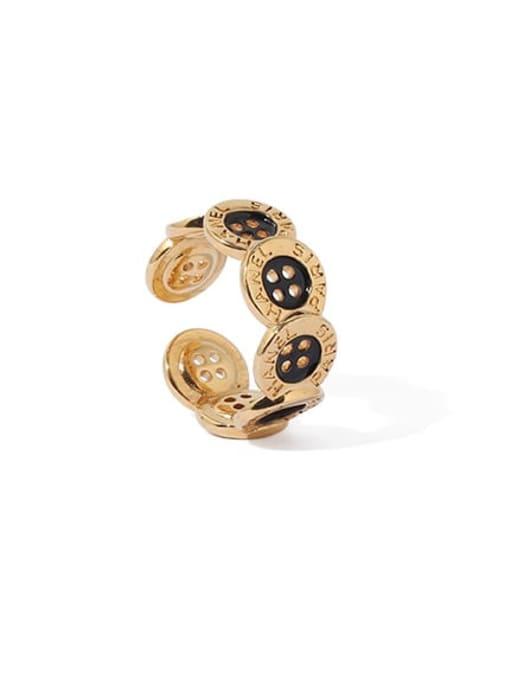 ACCA Brass Enamel Irregular Vintage Band Ring 2