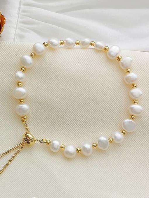 HYACINTH Brass Freshwater Pearl Irregular Minimalist Bracelet 1