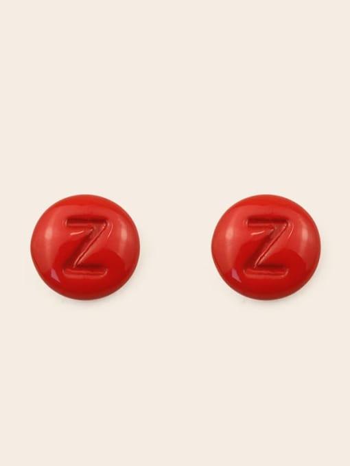 Z Alloy Enamel Letter Minimalist Stud Earring
