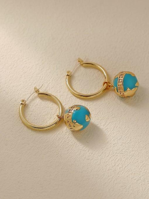 14k Gold Brass Enamel Round Ball Vintage Huggie Trend Korean Fashion Earring