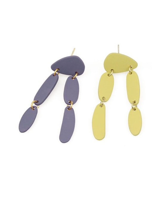 Five Color Alloy Enamel Geometric Cute Drop Earring 3
