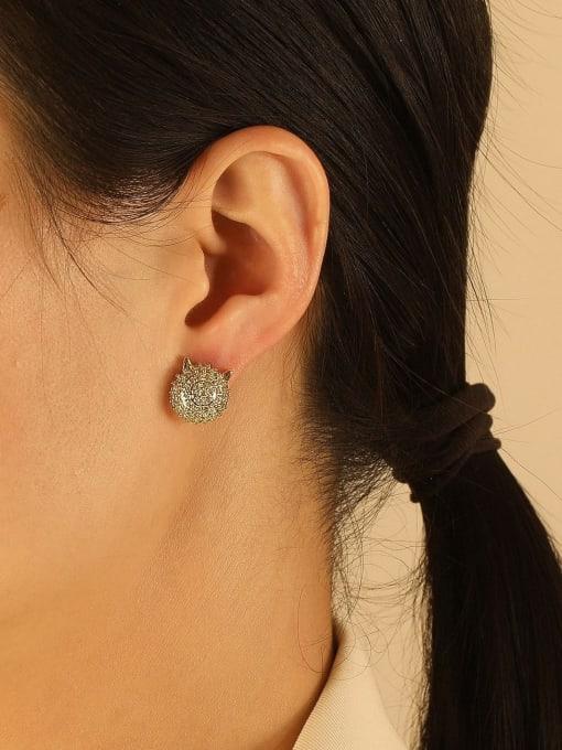 HYACINTH Brass Imitation Pearl Geometric Ethnic Stud Earring 1