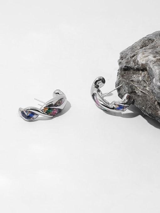 TINGS Brass Rhinestone Irregular Vintage Stud Earring 2