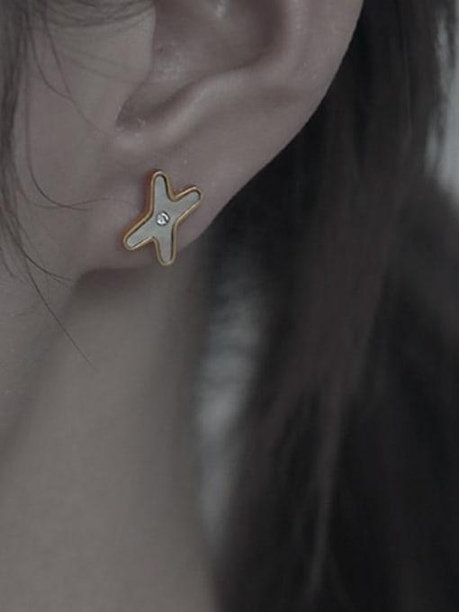 TINGS Brass Shell Cross Minimalist Stud Earring 2