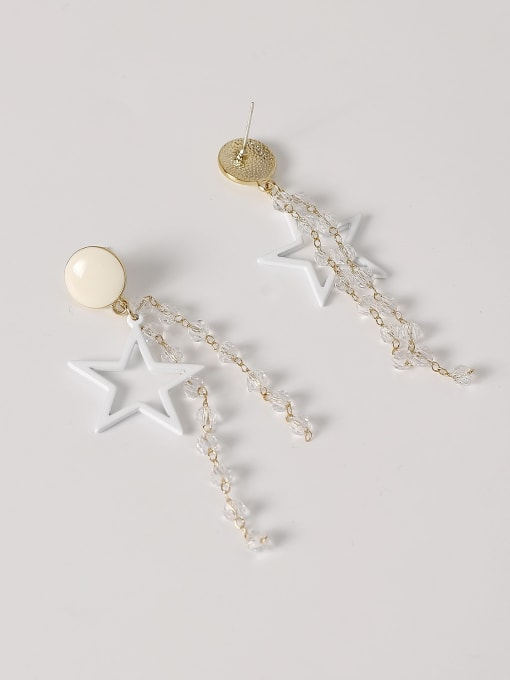 HYACINTH Brass Enamel Five Pointed Star Crystal Tassel  Drop Earring 3
