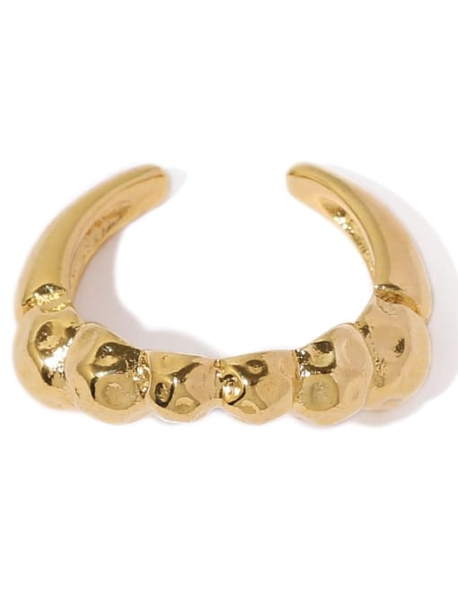 Five Color Brass Smooth Irregular Minimalist Band Ring 3