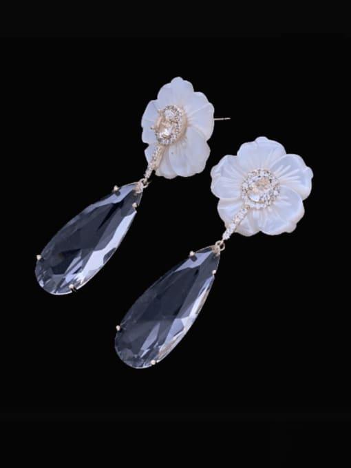 transparent color Brass Cubic Zirconia Water Drop Luxury Drop Earring