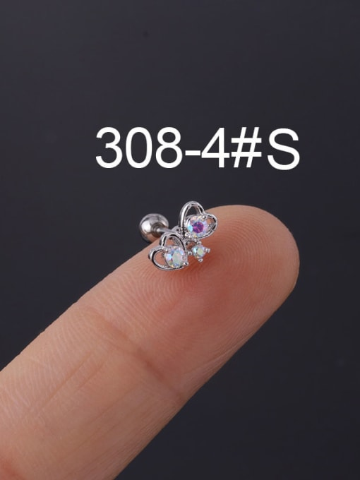 4#Steel Color Brass Cubic Zirconia Multi Color Ball Stud Earring(Single)