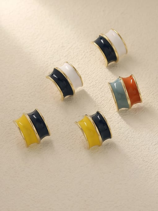 HYACINTH Brass Enamel Geometric Vintage Stud Trend Korean Fashion Earring 0
