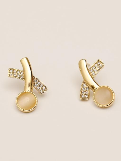 14k Gold Brass Cats Eye Geometric Minimalist Stud Earring