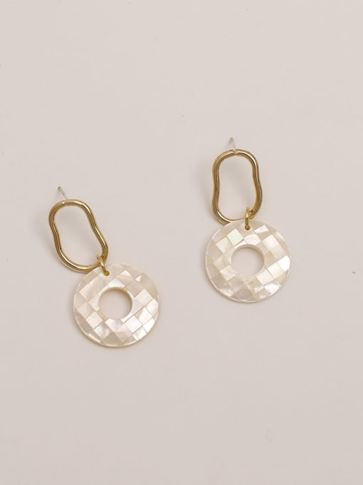 Off white Brass Acrylic Round Vintage Stud Earring