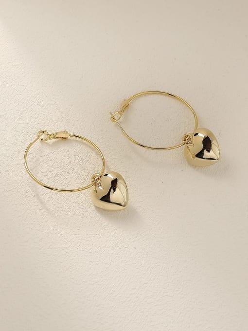 14k Gold Brass Heart Minimalist Huggie Earring