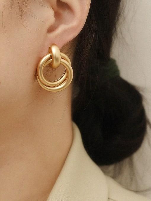 HYACINTH Brass Smooth Geometric Vintage Drop Earring 1