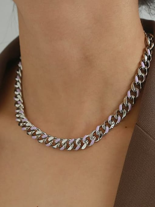ACCA Brass Hollow Geometric  Chain Vintage Necklace 3