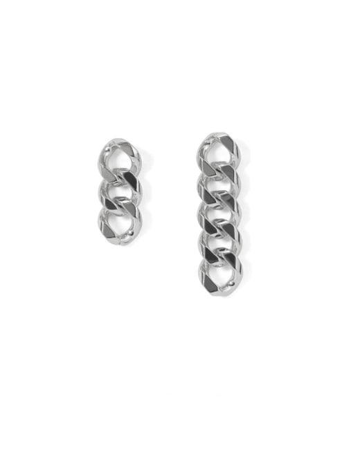 Platinum Brass Hollow Geometric Chain Asymmetry Minimalist Drop Earring