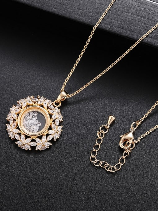 Champagne gold Brass Cubic Zirconia Flower Minimalist Necklace