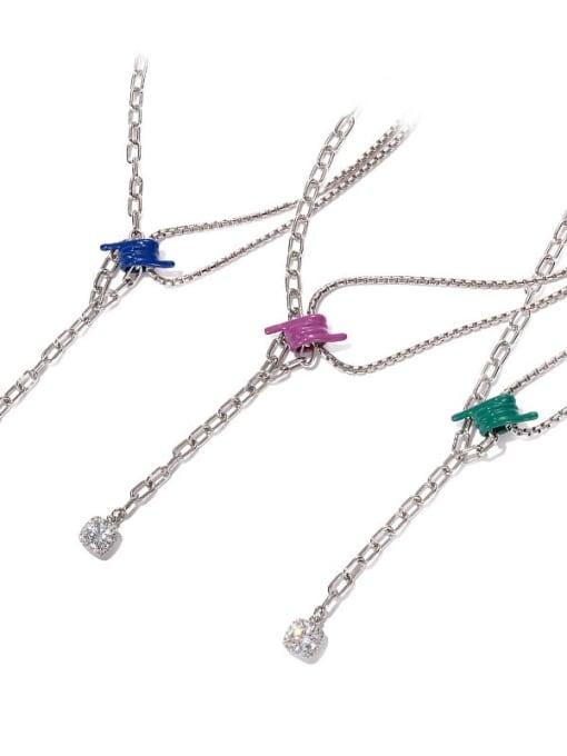 ACCA Brass Cubic Zirconia Tassel Vintage Tassel Necklace