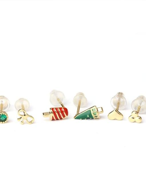HISON Brass Cubic Zirconia Enamel Heart Cute Single Earring 4