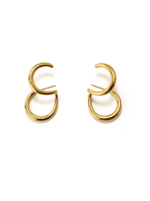 ACCA Brass Smooth Irregular Vintage Stud Earring 1