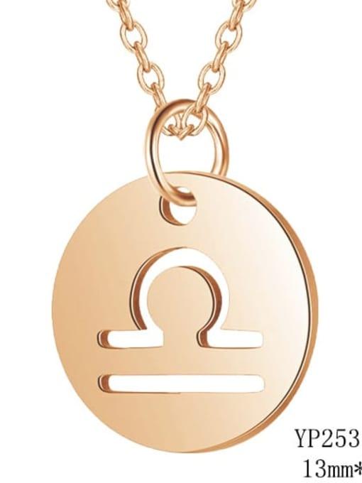 Libra rose gold Titanium Steel Constellation Minimalist  Round Pendant Necklace