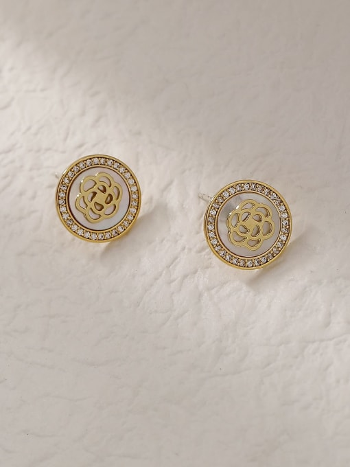 HYACINTH Brass Shell Round Vintage Stud Trend Korean Fashion Earring 2