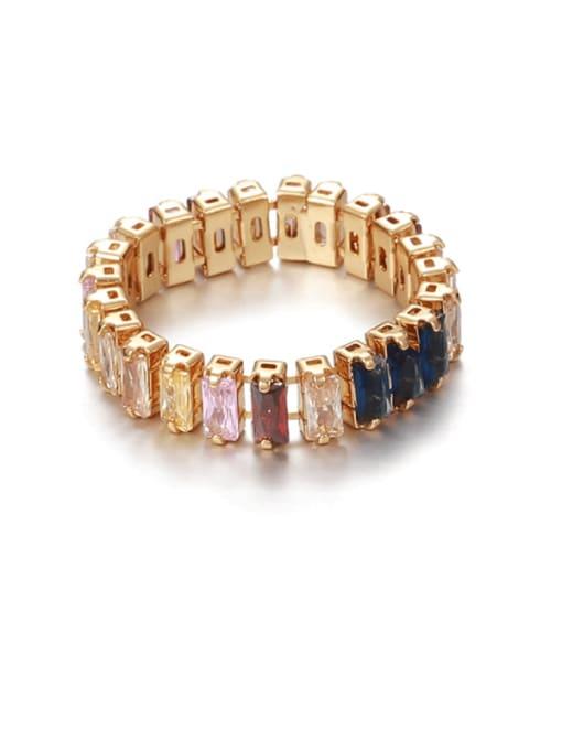 color zircon Brass Cubic Zirconia Rainbow Vintage Band Ring