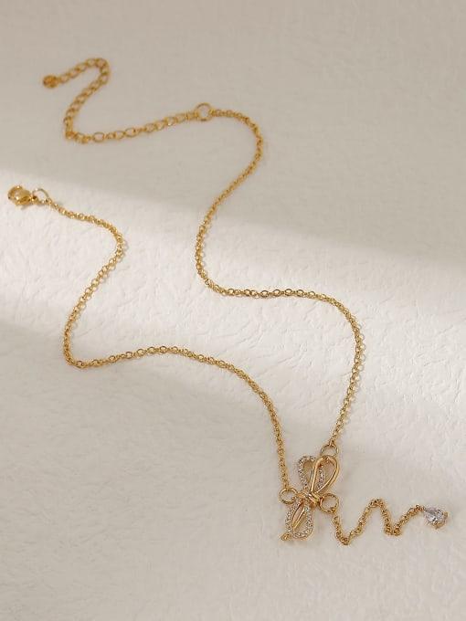HYACINTH Brass Cubic Zirconia Bowknot Vintage Tassel Trend Korean Fashion Necklace 3