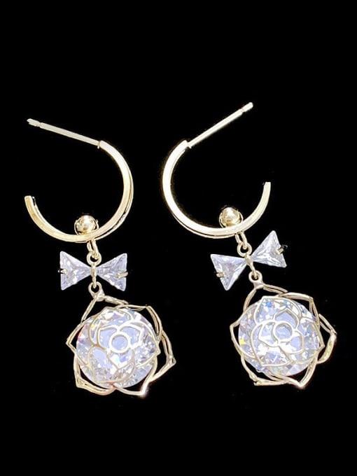 SUUTO Brass Cubic Zirconia Flower Hip Hop Drop Earring